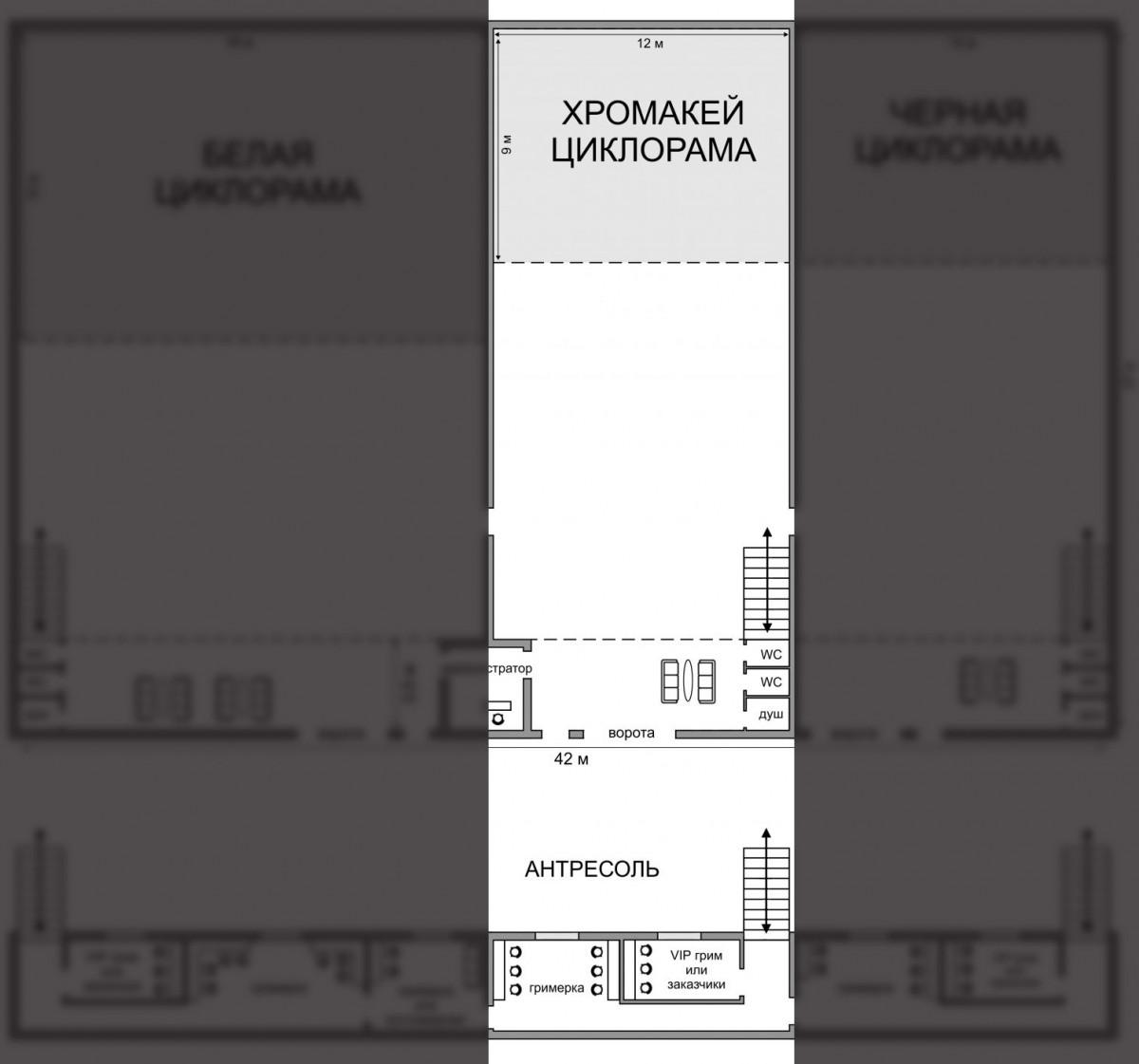 Съемочный павильон 325 м<sup>2</sup><br>(Зал с хромакей трехсторонней циклорамой)